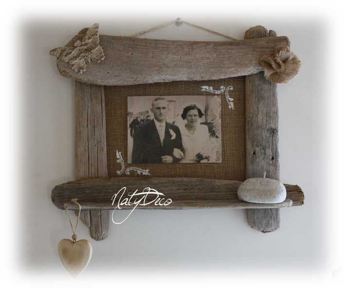 cadre photo en bois flotté NATYDECO   wwwnatydecocorse