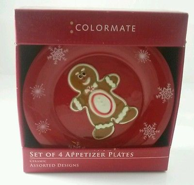 Colormate Holiday Red Plates Gingerbread Men Christmas Decor Appetizer | eBay