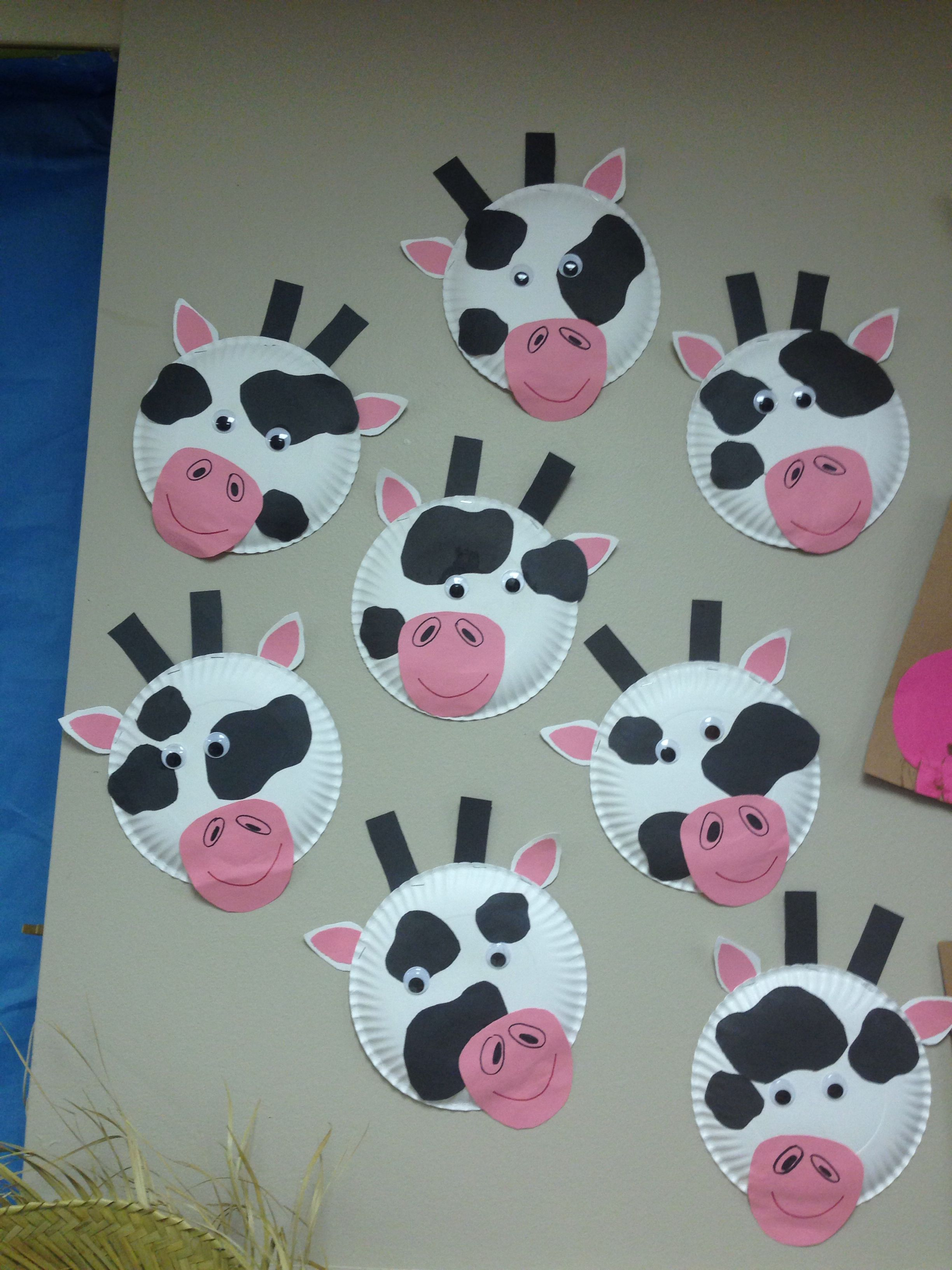 Paper Plate Cow Craft Farm Animals Week For Classroom Preschoolers