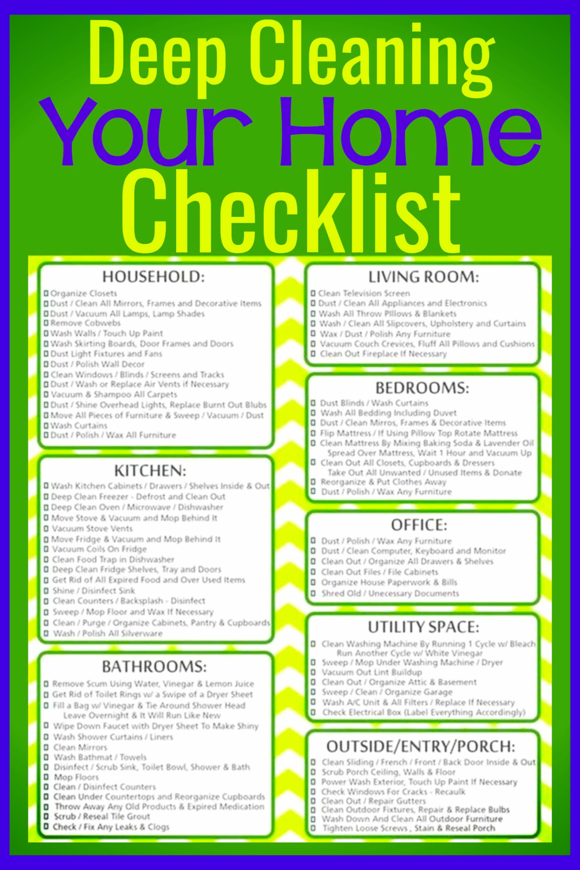 Deep Cleaning Checklist Free Printable Room By Room Deep Cleaning Checklist Deep Cleaning Deep Cleaning Checklist House Cleaning Tips