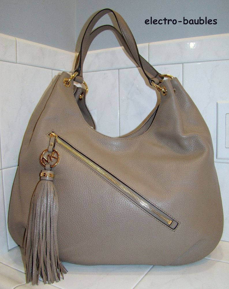 ab5e1c49f461 AUTHENTIC Michael Kors Large Charm Tassel Hobo in Dk Taupe - NEW WITH TAGS # MichaelKors #Hobo