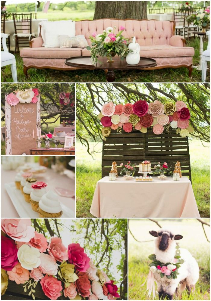 Paper Flower Decor For Baby Shower, With Paper Flower Wall, Paper Flower  Backdrop And