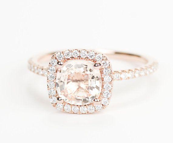 Certified Peach Pink Champagne Square Cushion Sapphire Diamond Halo