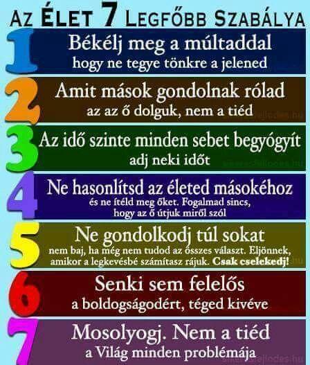 hét élet idézetek Hét bölcsesség szabályai szerint.   Life quotes, 7 rules of life
