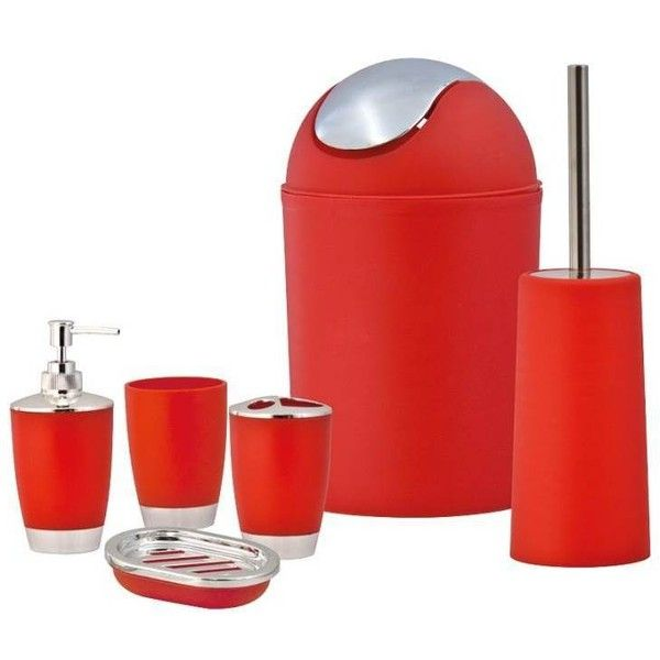 Sq Professional Red Bathroom Accessory Set 6pc 33 Liked On