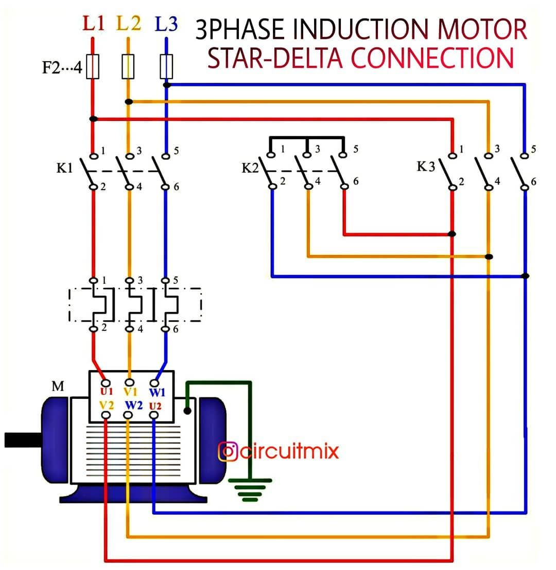 Star Delta Connection Of A Three Phase Induction Motor Save Share And Please Fol Delta Connection Electrical Circuit Diagram Electronic Circuit Projects