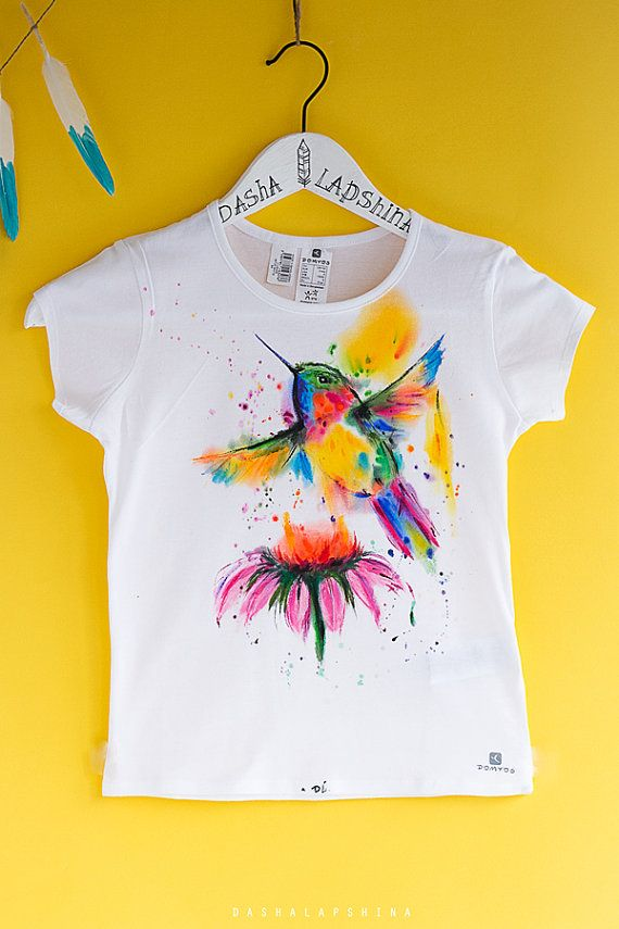 Hand Painted Baby Toddler Child T Shirt With Humming Bird White