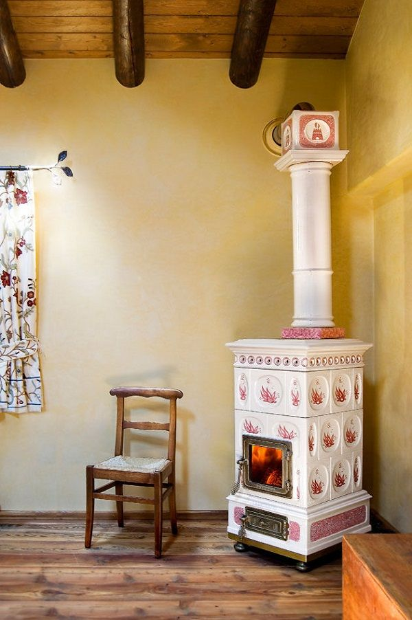 decorative functional wood stoves castellamonte white ceramic tiles red  decoration - Decorative Functional Wood Stoves Castellamonte White Ceramic