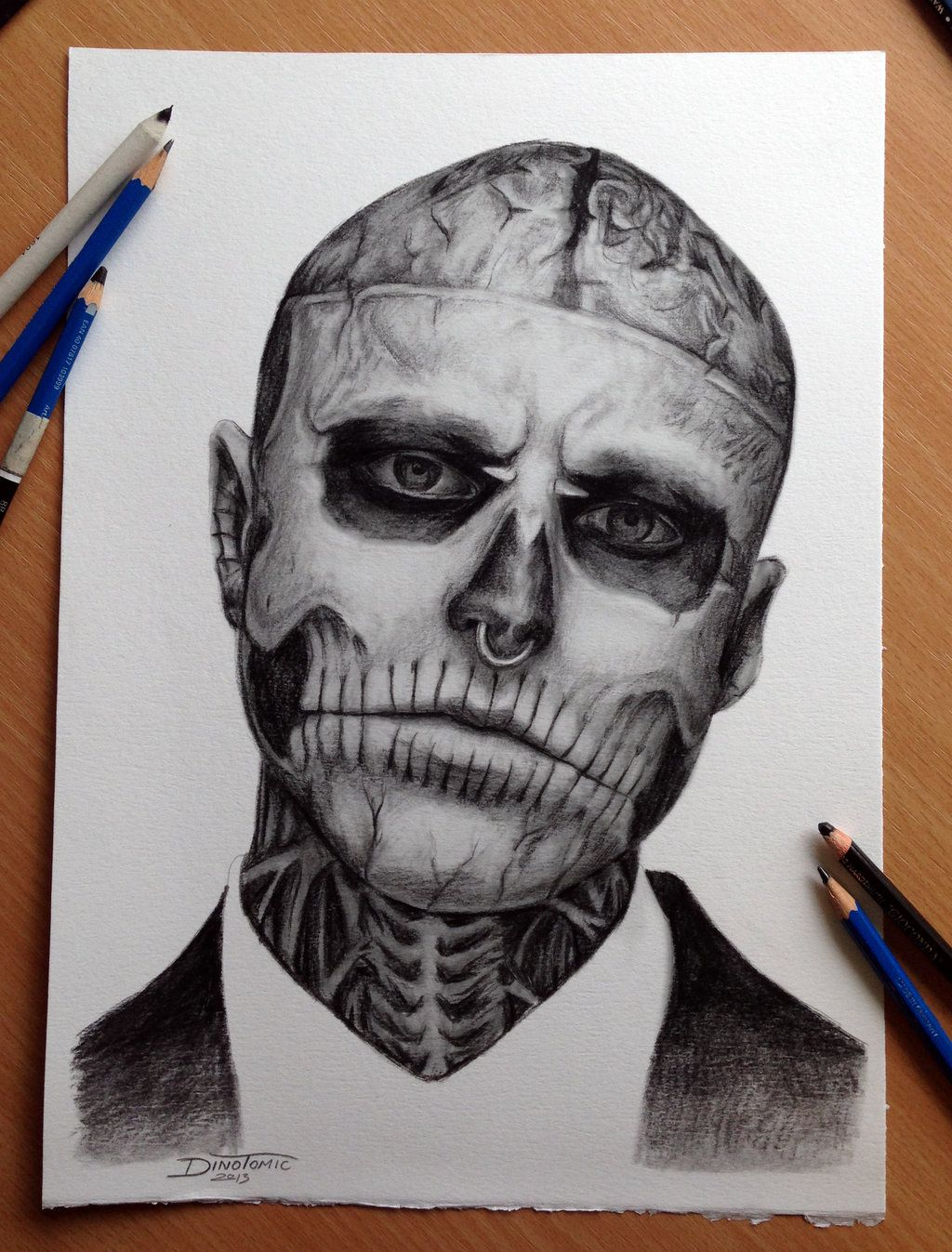 Pencil drawing of zombie boy