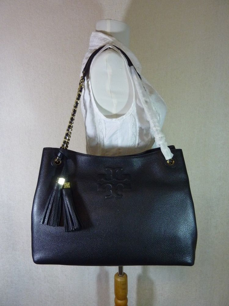 51b776b48ce NWT Tory Burch Black Pebbled Leather Thea Chain Slouchy Tote  495  ToryBurch   Tote