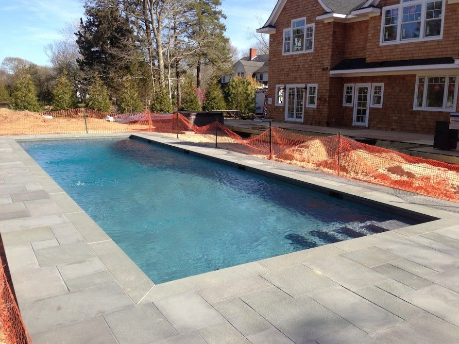 Enchanting Gunite Pool Tile Repair with Bluestone Pavers ...