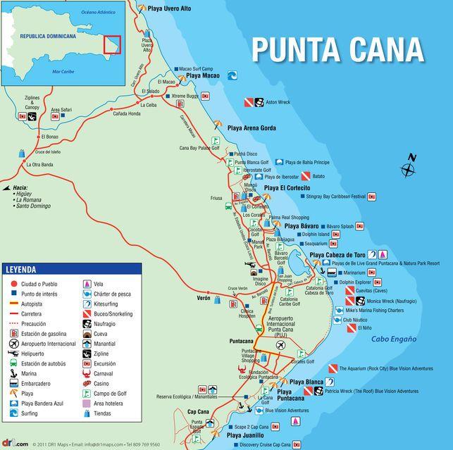 mapa de punta cana Mapa de Punta Cana (dr1.com)   Travel in 2018   Pinterest   Punta  mapa de punta cana