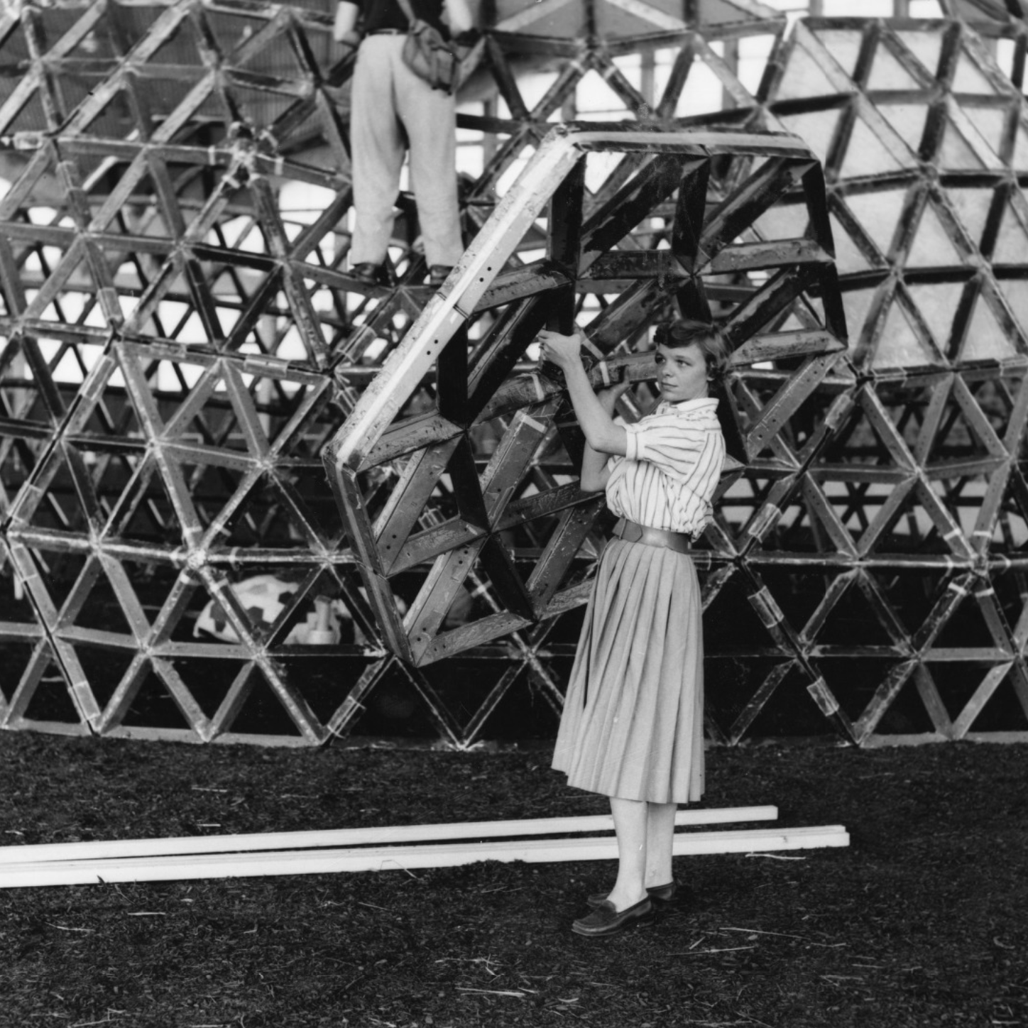 Throwback Thursday To Jean Mackensie Jenkins Holding A Hexagonal Piece To Be Placed On Geodesic Dome Structure At Ncsu S Dome Structure Geodesic Dome Geodesic