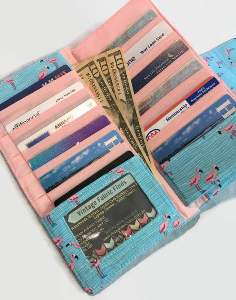 Cash envelope wallet credit card holder flamingo gift