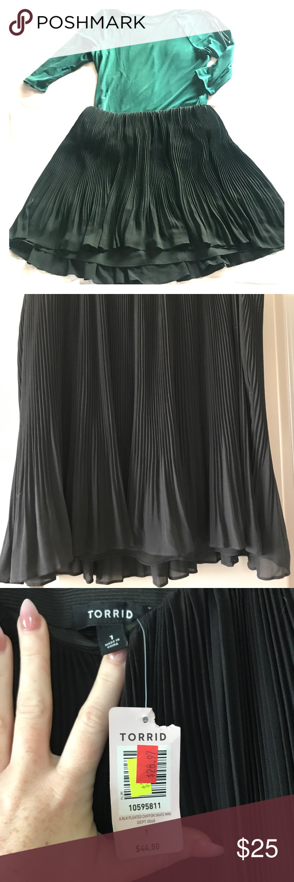 27a685b2982 Black Pleated Chiffon Skate Mini Skirt NWT. Black chiffon mini skirt for plus  size.