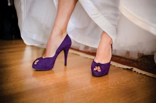 Amethyst Shoes To Match Her Maids Donnamorganbridesmaids Wedding