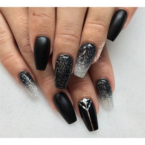 nail art designs  coffin  matte black  gel  acrylic