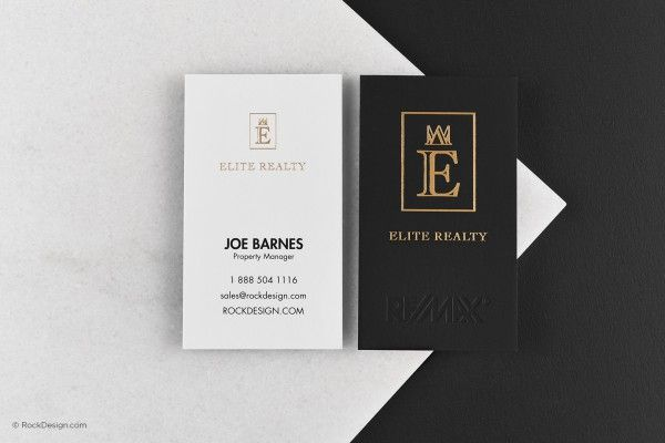 Luxury Professional Real Estate Suede Duplex Business Card With Gold Foil Elite Realty