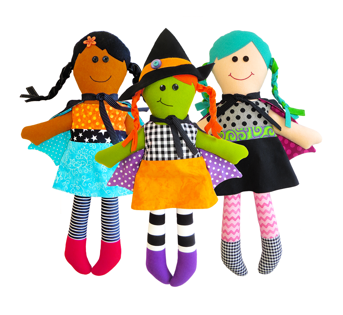Three Little Witches Doll Pattern https://www.etsy.com/shop/TheRedBootQuiltCo