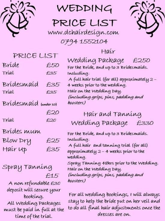Wedding Price List This Is Based On Us Coming Out To Your Home On