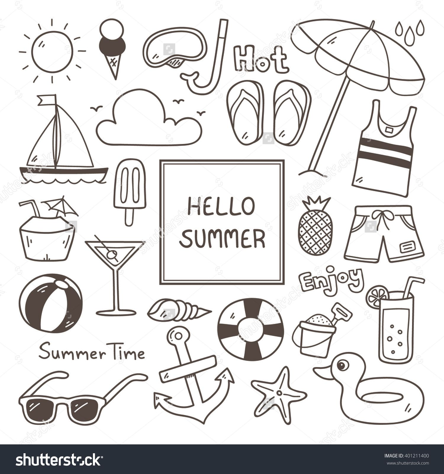 Summer Doodles Summer Icon Set With Images Bullet Journal