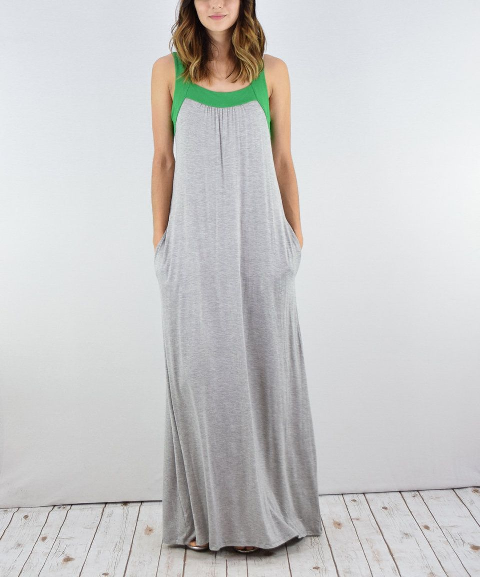 Colorblock maxi dress with pockets