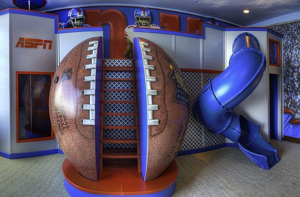 This is so cool! Boys football theme bedroom with slide