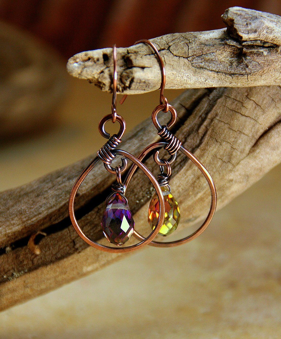 Piercing arten ohr  Copper Wrapped and Glass Prism Beaded Earrings  Artisan  Hand