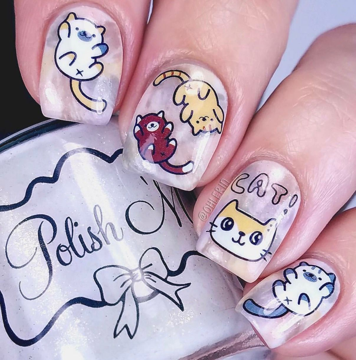 Adorable nail art using kitty cat water decals from Born Pretty ...