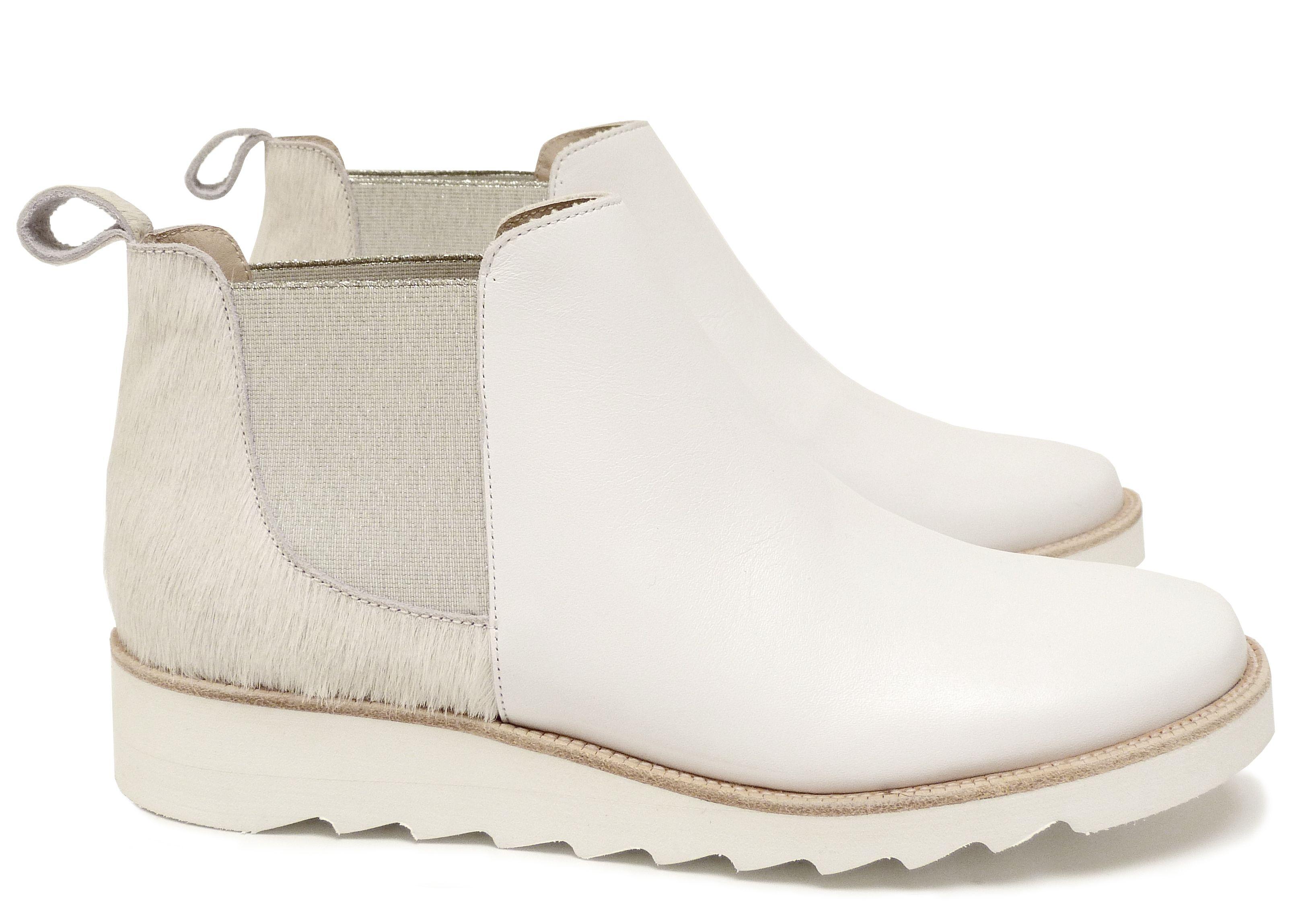 Chaussure Femme Boots Printemps Ete 2015 Maurice Manufacture BRENDA Cuir poil ras ecru - veau lisse blanc