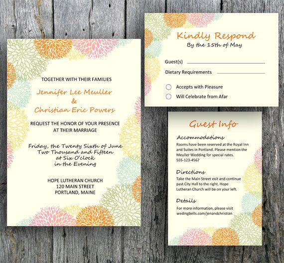 Floral Wedding Invitation. Printable from home, local print shop ...