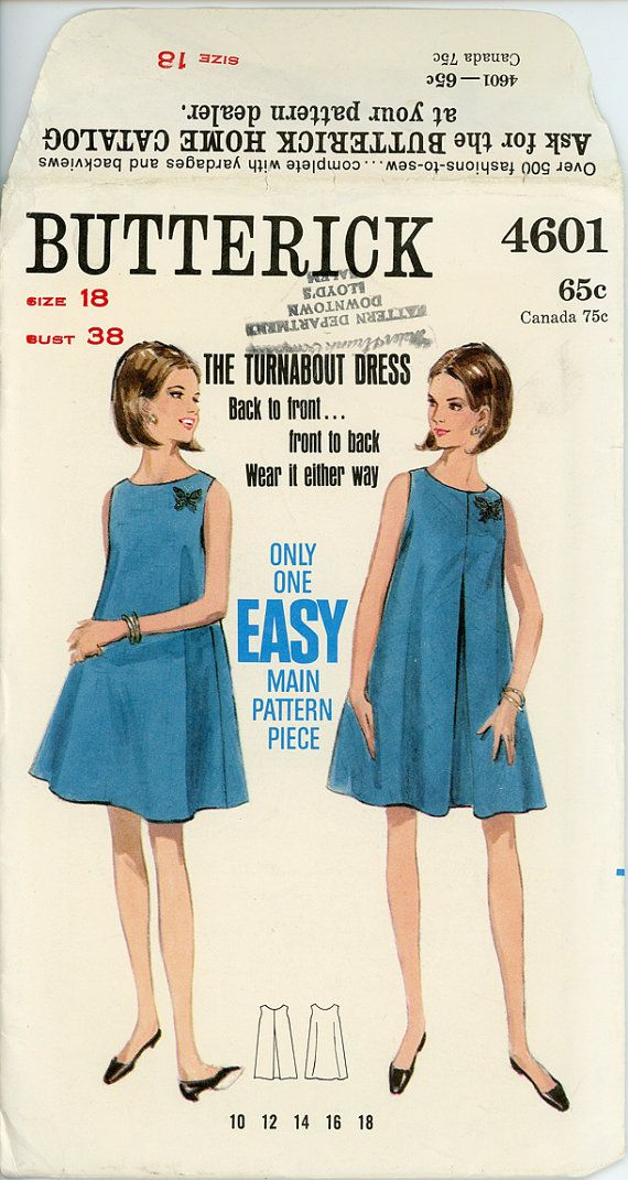 1960s Tent Dress Pattern Bust 38 Butterick 4601 Easy to Sew Flared A Line Turnabout Trapeze Dress Womens Vintage Sewing Patterns  sc 1 st  Pinterest & 1960s Tent Dress Pattern Bust 38 Butterick 4601 Easy to Sew Flared ...
