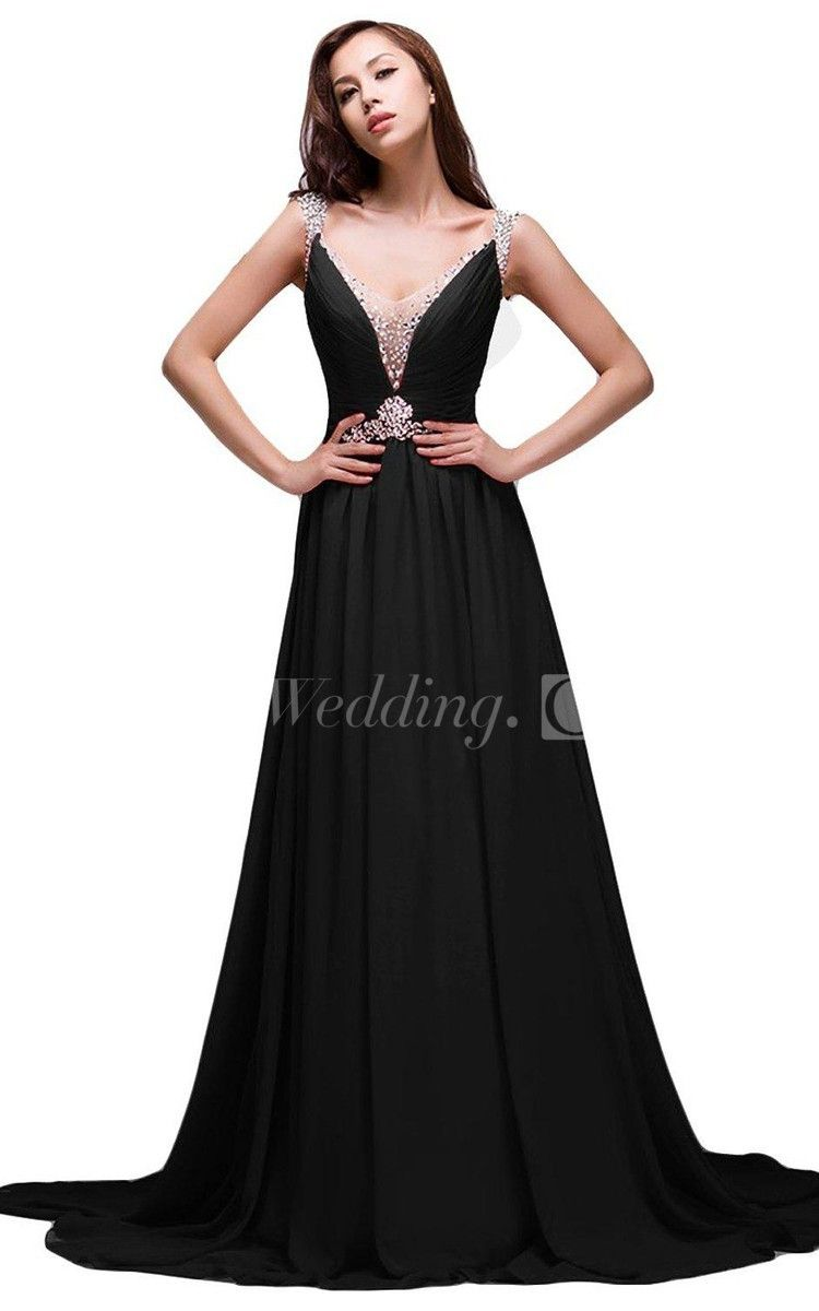 Vneck aline long beaded prom dress with vback twopiece