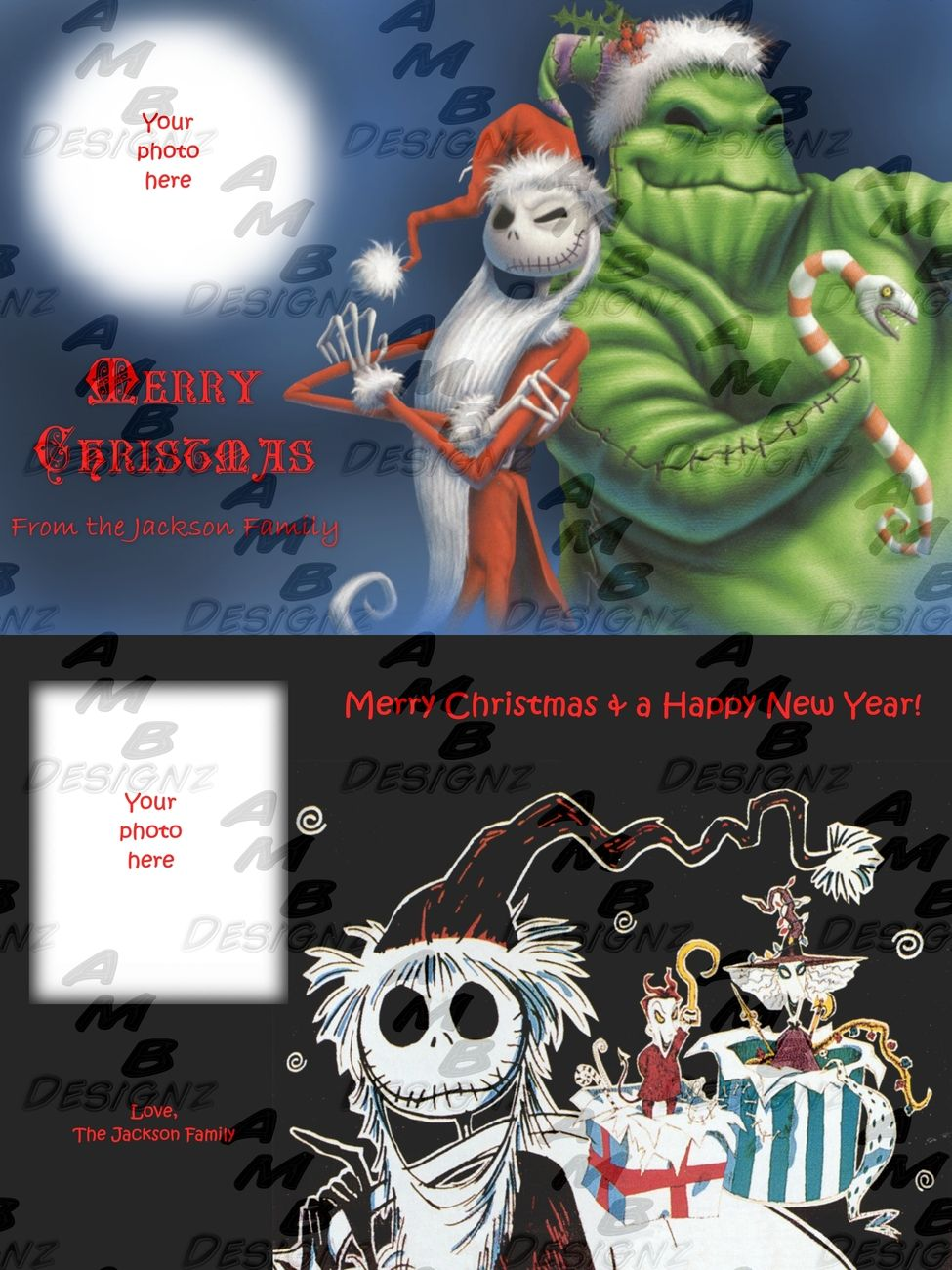 The Nightmare Before Christmas Custom Christmas Greeting Cards For