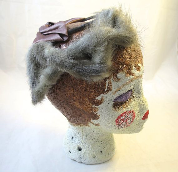 Vintage Silver Grey Mink Birdcage Hat 1950's Fashion Brown Satin Ribbon Back Mid Century Style French Twist Fashion Hat