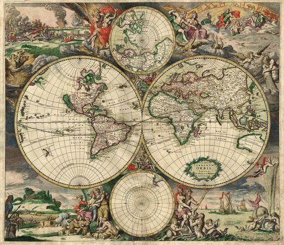 huge vintage 1690 historic old world map of london england restoration hardware style fine art print giclee poster old world maps old world and world
