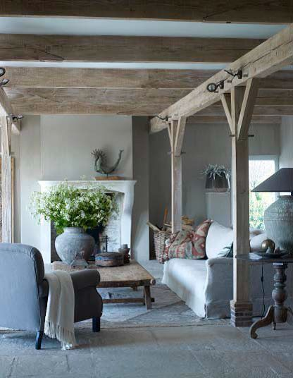 How To Create Belgian Style Interiors  Pre Loved Pieces  Modern     Rustic living room with beams