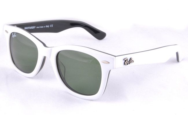 ray ban sunglasses styles 4y6w  Ray Ban 2140 White Frame Green Lens 3N Sunglasses