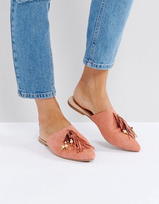 on sale d936c 7805a Glamorous   Glamorous Pink Tassle Flat Mules
