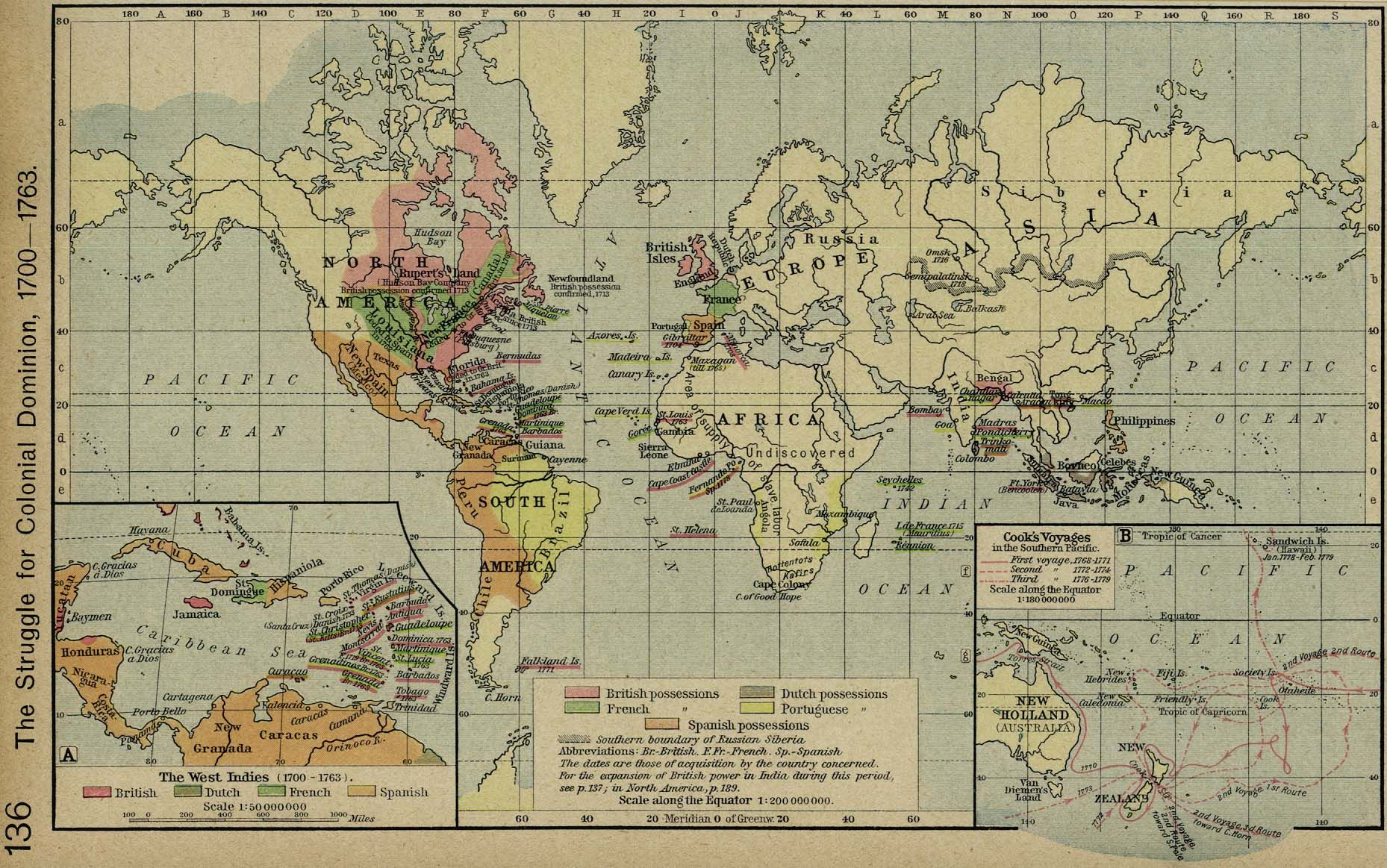 Map Of Australia 1700.Map Of European Colonization Of No America 1700 1763 Us History