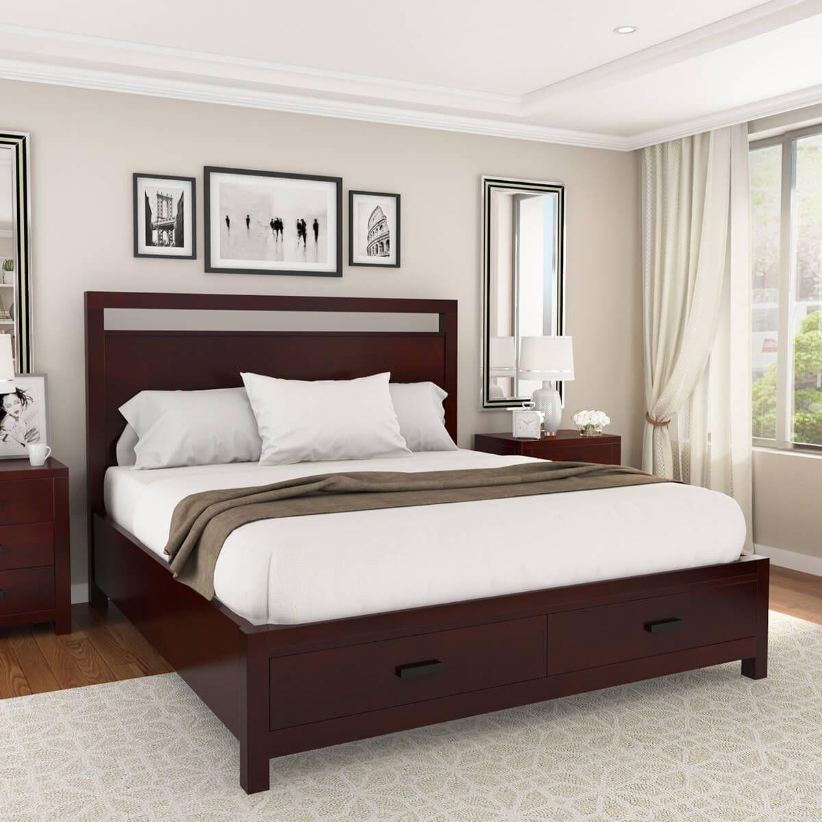 Anniston Transitional Style Solid Mahogany Wood Storage Platform Bed Bedroom Design Bedroom Sets Bedroom Interior
