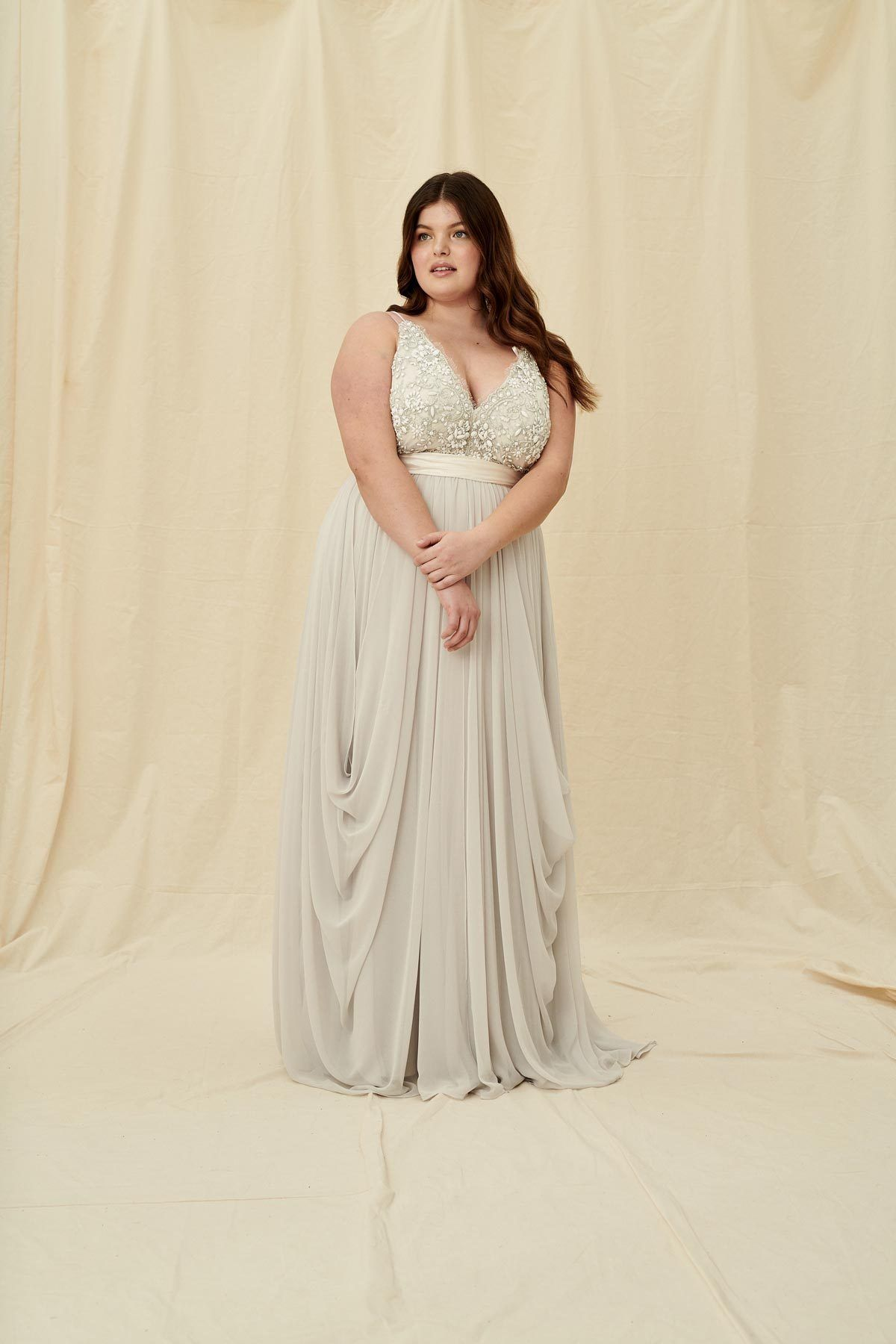 Truvelle Alexandra Curve A Modern Wedding Gown Deep V Plus Size Bridal Gown With Coloured Lace Beading Dresses Used Wedding Dresses Wedding Dress Shopping [ 1800 x 1200 Pixel ]