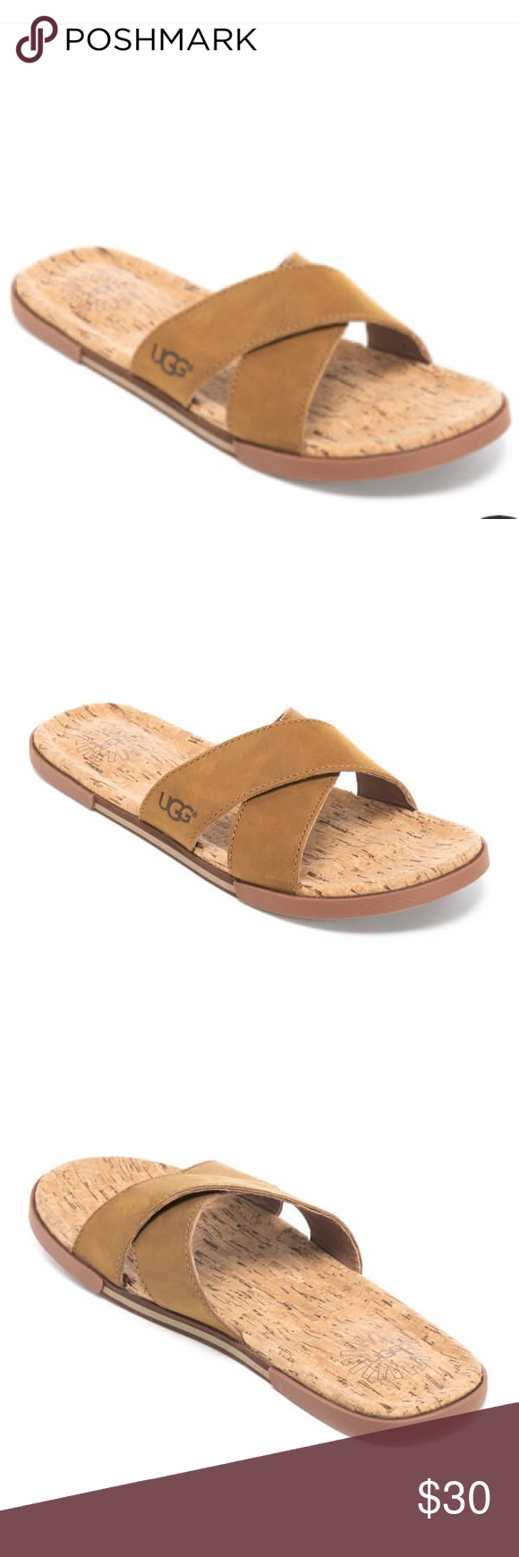 a1ffbf59071 New UGG Men's Cork Double Strap Leather Slide Never Worm!! Men's ...
