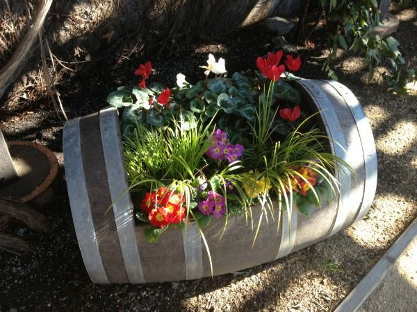Nice Images About Wine Barrel Inspired Gardens On, Flower Planter Ideas For Patio,  Flower Pot