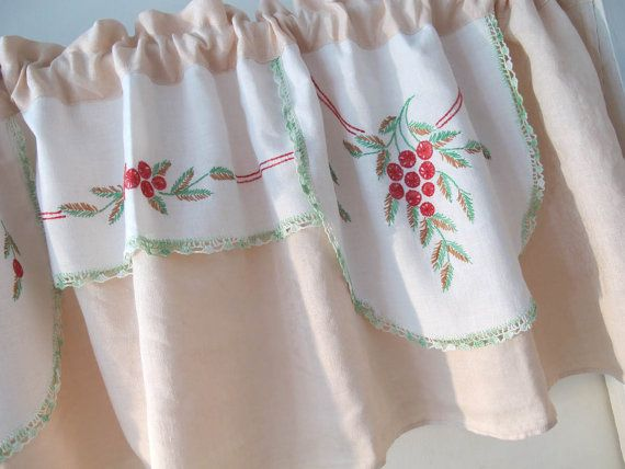 Vintage Linens Embroidered Valance, Upcycle Red and Green, Repurpose Dresser Scarf, Window Curtains