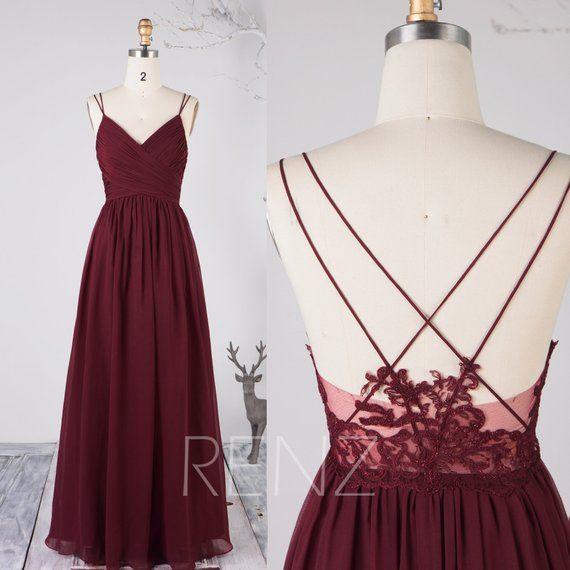 Brautjungfer Kleid Wein Chiffon Kleid, Brautkleid, Spaghetti-Trägern Prom Kleid, V-Ausschnitt Maxikleid, Illusion Lace Open Back Abendkleid (H497B)