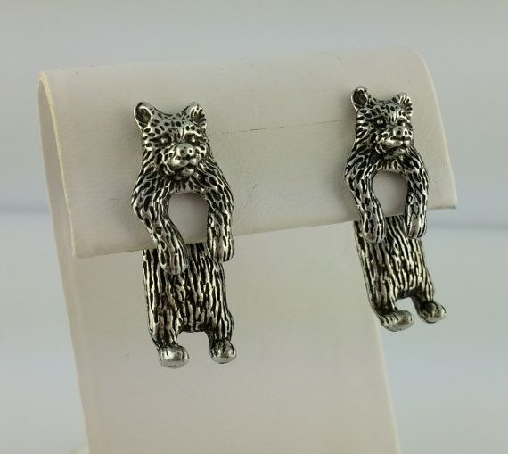 Vintage pewter EARlusion 3D Grizzly bear by celtictreasures