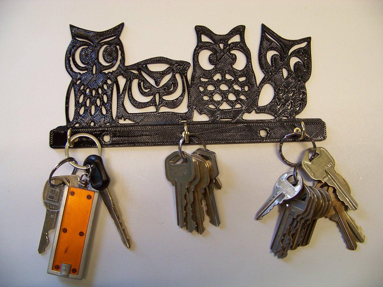 Owl Quad Keyring Holder Wall Mount Hooks Storage Key Rack Hang Keys
