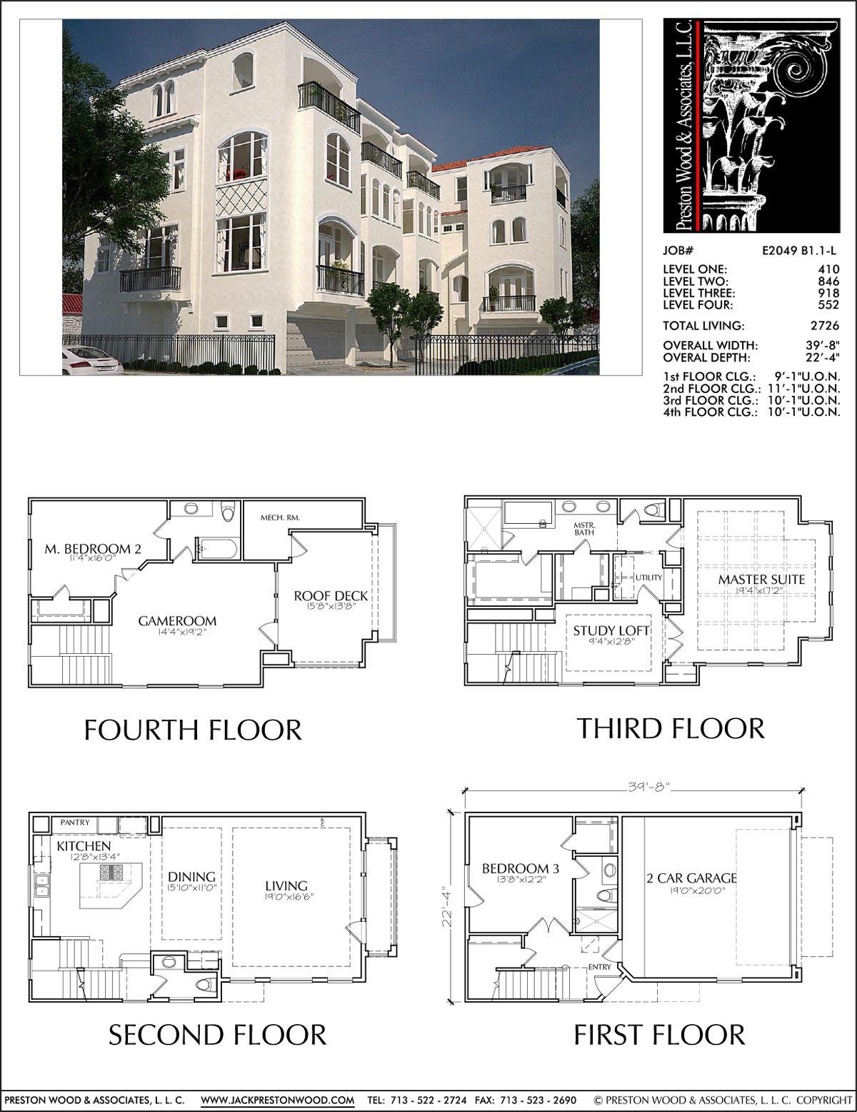 Four Story Duplex Townhouse Plan E2049 B1 1 Townhouse Designs Modern House Design Townhouse