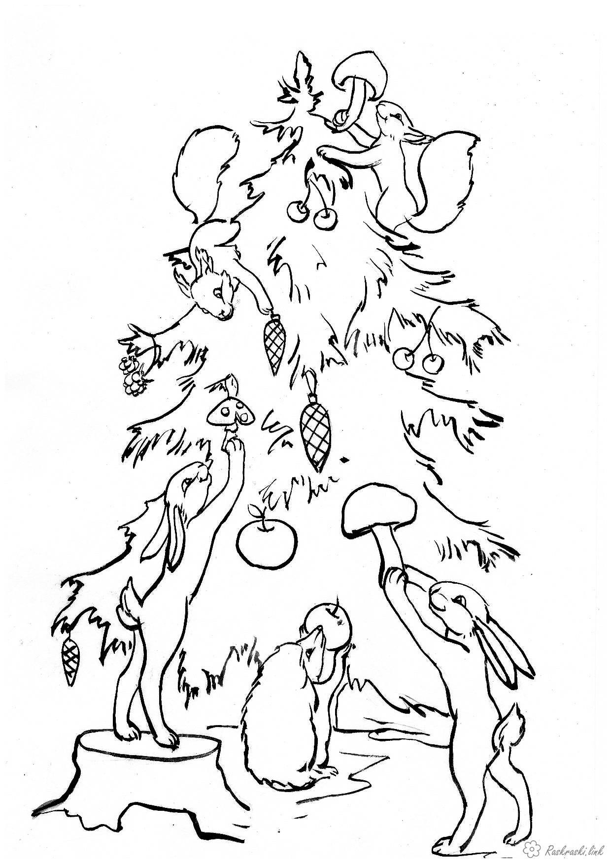 Раскраска животные, лесные животные, дикие животные ...